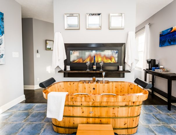 Two person cedar soaking tub